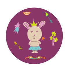 hand-drawn rabbit the fairy in a crown vector image
