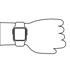 hand with smartwatch device technology digital vector image