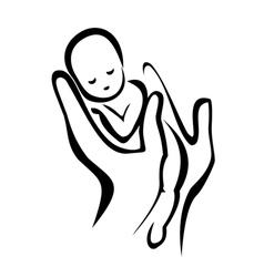 Hands holding a newborn baby vector