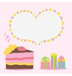 Happy Birthday card background with cake vector