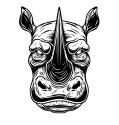 head wild angry rhino in vintage monochrome vector image