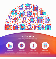 Hiv and aids concept in half circle with icons vector