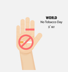 Human hands and quit tobacco logo design vector