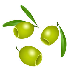 icon of green olives without pits isolated on vector image