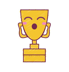 Kawaii cute funny prize cup vector