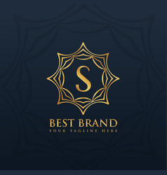 Letter s logo style design with golden abstract vector