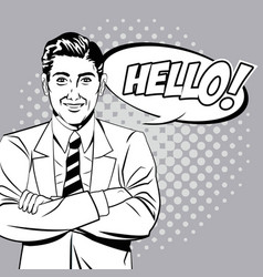 man hello talking style pop art vector image