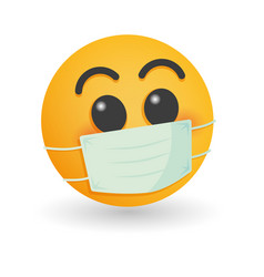 mask with emoji concept for save world vector image