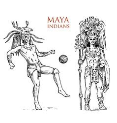 Maya vintage style aztec culture portrait vector