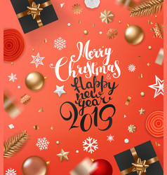 merry christmas and happy new 2019 year concept vector image