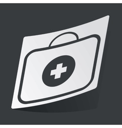 Monochrome first aid kit sticker vector image