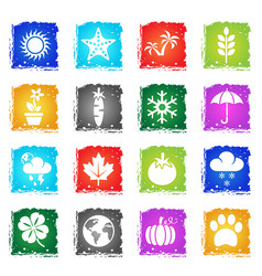 Nature web icons vector