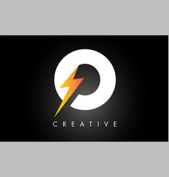O letter logo design with lighting thunder bolt vector