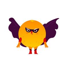 Orange fruit hero superhero character guard vector