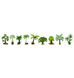 palm tree icon set isolated coconut tree vector image