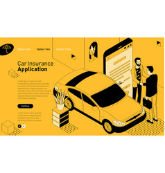 passenger car insurance isometric concept vector image