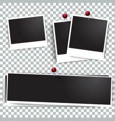 Photo polaroid frames on wall attached with pins vector