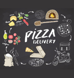 Pizza hand drawn sketch set pizza preparation and vector