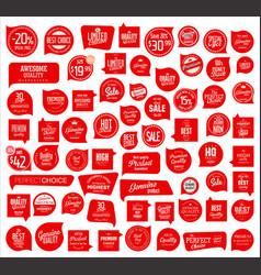 premium quality retro red badge collection vector image