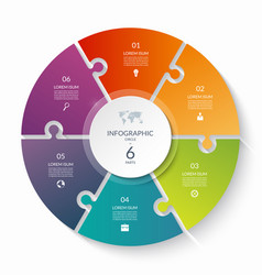 Puzzle infographic circle with 6 steps options vector
