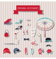 Retro personal accessories stickers 1920s style vector