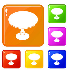 Round table icons set color vector