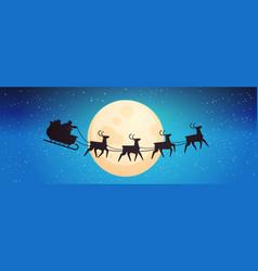 santa flying in sledge with reindeers in night sky vector image