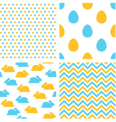 set easter seamless patterns with eggs rabbits vector image