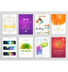 set flyer brochure background infographic vector image