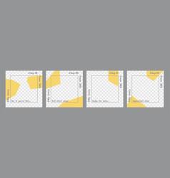 Set minimal square posts transparent yellow vector