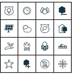 Set of 16 ecology icons includes bonfire delete vector