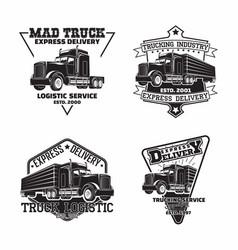 set trucking company vintage emblem designs vector image