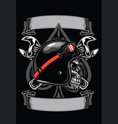 skull biker with spade and crossed wrench vector image