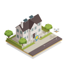Smart city townhouse isometric composition vector
