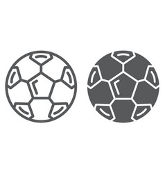Soccer ball line and glyph icon sport and vector