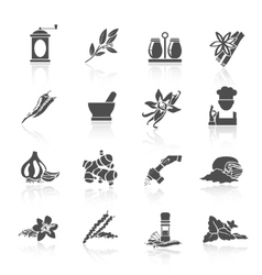 Spices Icons Black vector image
