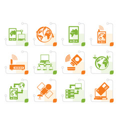 stylized communication computer and mobile phone vector image vector image