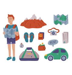 summer vacation objects set man traveler vector image