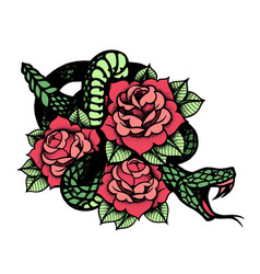Tattoo with rose and snake traditional black dot vector