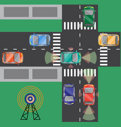 top view of crossroads with driverless car vector image