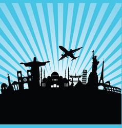 travel icon background world monument vector image