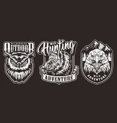 Vintage outdoor adventure emblems vector