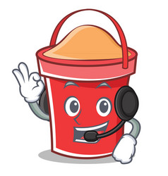 with headphone bucket character cartoon style vector image vector image