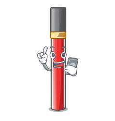 With phone lip gloss in the cartoon shape vector