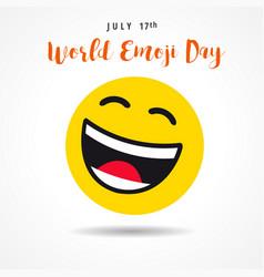 World emoji day big smiling emoticon banner vector