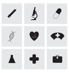 black medical icons set vector image vector image