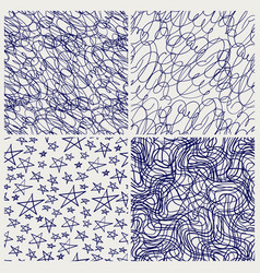 pen sketched seamless texture set vector image