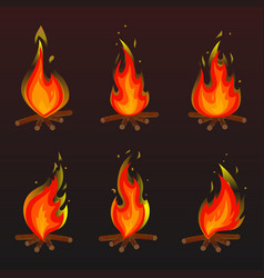 set of red fire bonfire icons vector image vector image