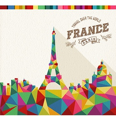 Travel France polygonal skyline vector image