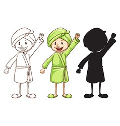 A sketch of a girl after taking a bath in three vector image